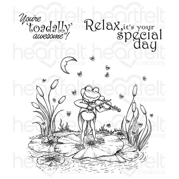 Bild von Heartfelt Creations Cling Motivstempel Fiddle'n Frog