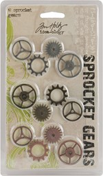 "Bild von Idea-Ology Metal Sprocket Gears .75"" To 1"" 12/Pkg-Antique Nickel, Brass & Copper"