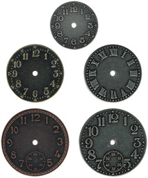 "Bild von Idea-Ology Metal Clock Faces 1.25"" To 1.75"" 5/Pkg-Antique Nickel, Brass & Copper"