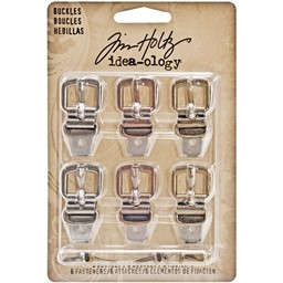 "Bild von Idea-Ology Metal Buckles W/Brads 1.5"" 6/Pkg-Antique Nickel, Brass & Copper"