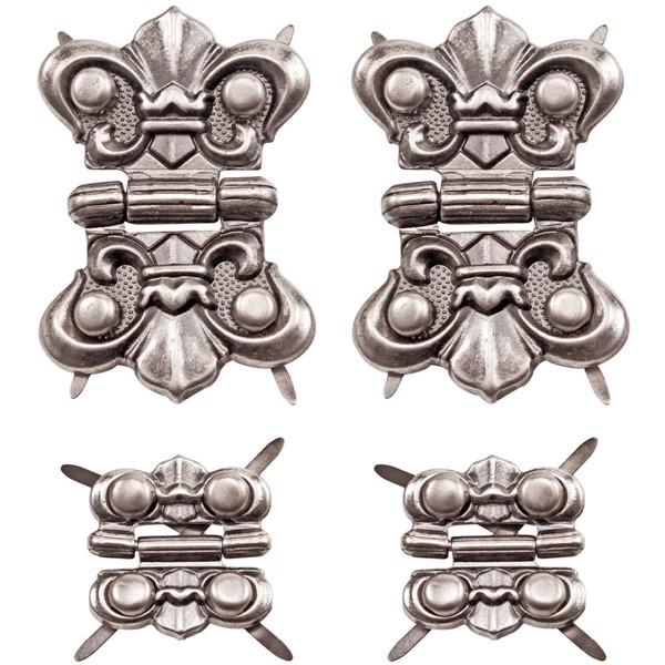 Bild von Idea-Ology Metallverzierte Scharniere 4/Pkg Antique Nickel W/16 Fasteners