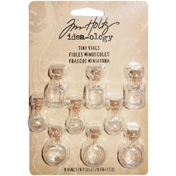 "Bild von Idea-Ology Tiny Corked Glass Vials 9/Pkg-Assorted Clear Shapes 1""X.25"""