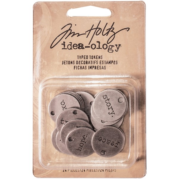 Bild von Idea-Ology Metal Typed Tokens 24/Pkg-Antique Nickel Words .75""