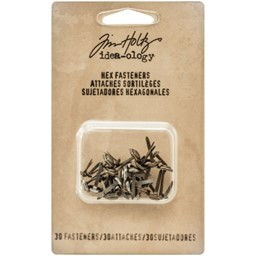 "Bild von Idea-Ology Metal Hexagon Paper Fasteners .25 To .5"" 30/Pkg-Antique Nickel, Brass & Copper"