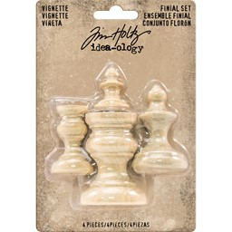 "Bild von Idea-Ology Wooden Vignette Finial Set 4/Pkg-Unfinished .75""X1"" To 1.5""X2"""