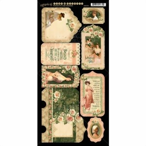 Bild von Graphic 45 Chipboards Die-Cuts Stanzteile Portrait Of A Lady Collection - Tags & Pockets