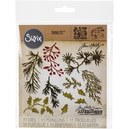 Bild von Sizzix Thinlits Dies By Tim Holtz 11/Pkg-Mini Holiday Greens
