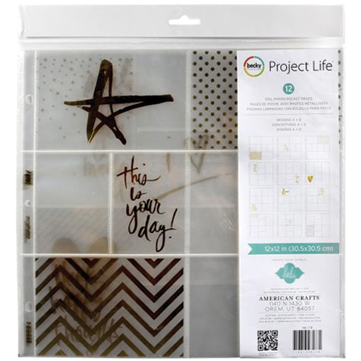 "Bild von Project Life Photo Pocket Pages 12""X12"" 12/Pkg-Heidi Swapp -Gold Foil W/Stickers"