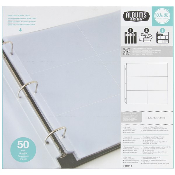 "Bild von We R Ring Photo Sleeves 12""X12"" 50/Pkg-(6) 4""X6"" Pockets"