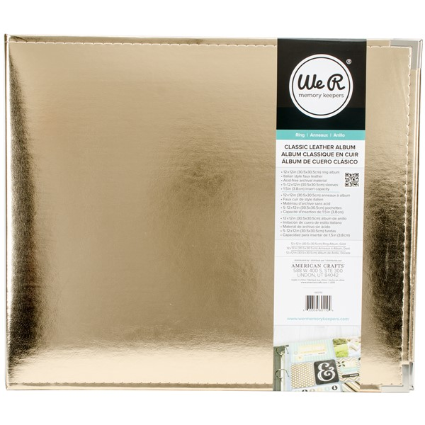 "Bild von We R Classic Leather D-Ring Album 12""X12""-Gold"