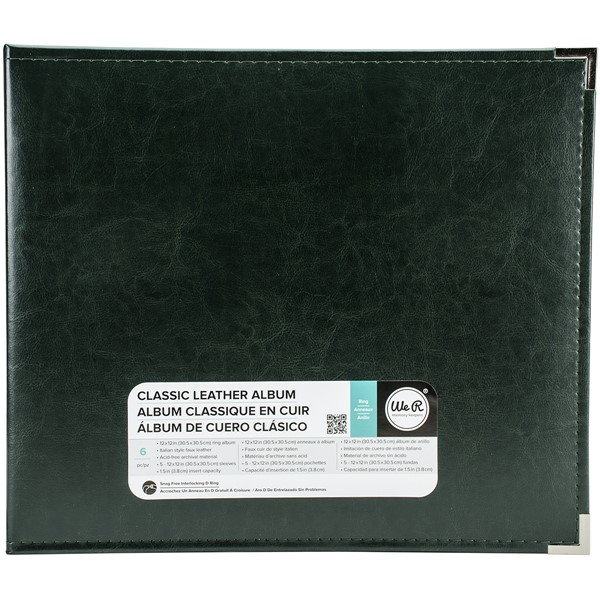 "Bild von We R Classic Leather D-Ring Album 12""X12""-Forest Green"