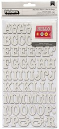 Bild von American Crafts Chipboard Alphabet Stickers-Roller Rink-White Glitter, 141/Pkg