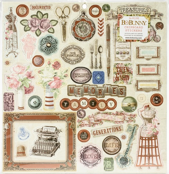 "Bild von Family Heirlooms Chipboard Stickers 12""X12""-W/Copper Foil Accents"