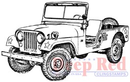 "Bild von Deep Red Cling Stamp 3.2""X2.1""-Vintage Military Jeep"