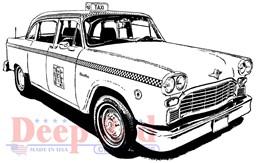 "Bild von Deep Red Cling Stamp 3.2""X2.2""-Classic Taxi"