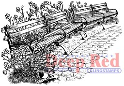 "Bild von Deep Red Cling Stamp 3""X2""-Park Benches"