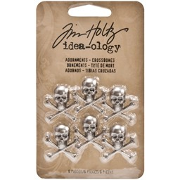 "Bild von Idea-Ology Metal Adornments 6/Pkg-Antique Nickel Skull/Crossbones .75""X.75"