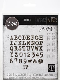Bild von Sizzix Thinlits Dies By Tim Holtz-Alphanumeric Tiny Type Upper