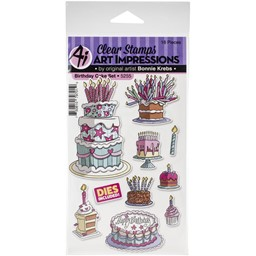 Bild von Art Impressions Basics Clear Stamp & Die Set-Birthday Cake
