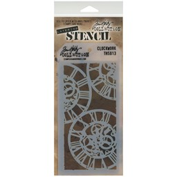 "Bild von Tim Holtz Layered Stencil 4.125""X8.5""-Clockwork"