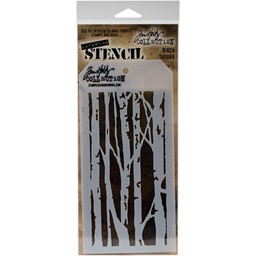 "Bild von Tim Holtz Layered Stencil 4.125""X8.5""-Birch"
