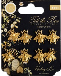 Bild von Craft Consortium Tell The Bees Metal Charms 8/Pkg-Gold Bees - Special Edition
