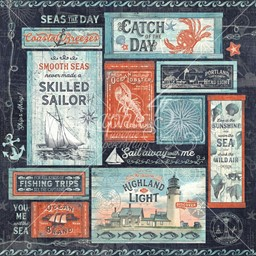 "Bild von Catch Of The Day Double-Sided Cardstock 12""X12""-Seas The Day"
