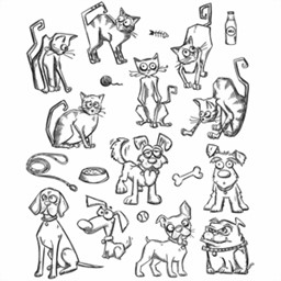 Bild von Tim Holtz Cling Stamps CRAZY CATS & DOGS Stempel